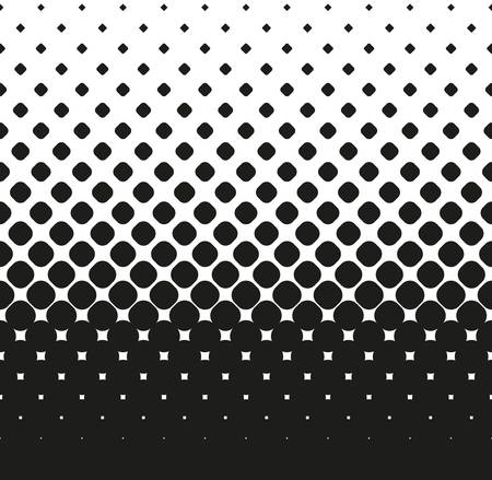 Horizontal seamless Halftone of big rounded squares decreases up, on white background. Contrasty halftone background. Vector illustration