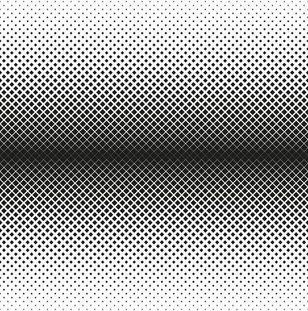 Horizontal seamless Halftone of squares decreases to edge, on white background. Contrasty halftone background. Vector illustration Ilustrace