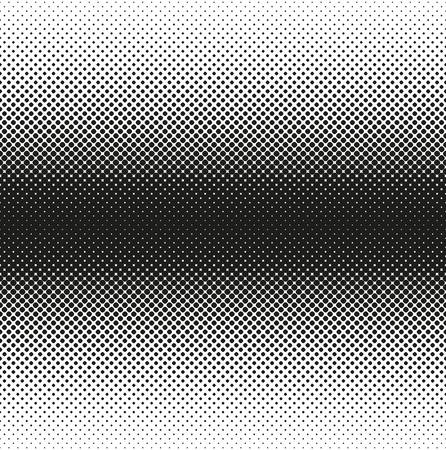 Horizontal seamless Halftone of rounded squares decreases to edge, on white background. Contrasty halftone background. Vector illustration