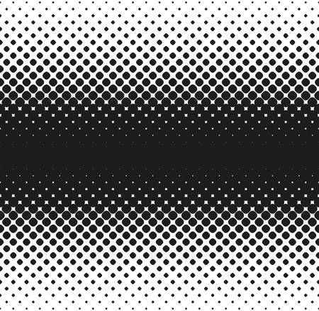 Horizontal seamless Halftone of big rounded squares decreases to edge, on white background. Contrasty halftone background. Vector illustration