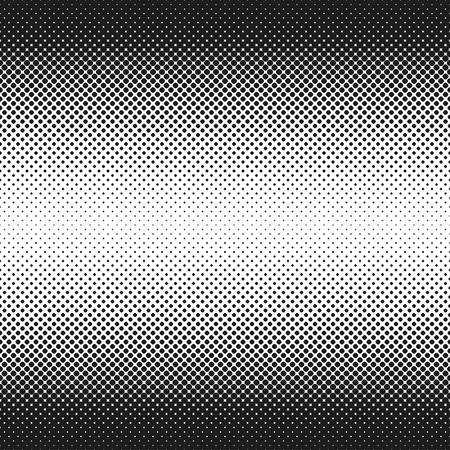 Horizontal seamless Halftone of rounded squares decreases to center, on white background. Contrasty halftone background. Vector illustration