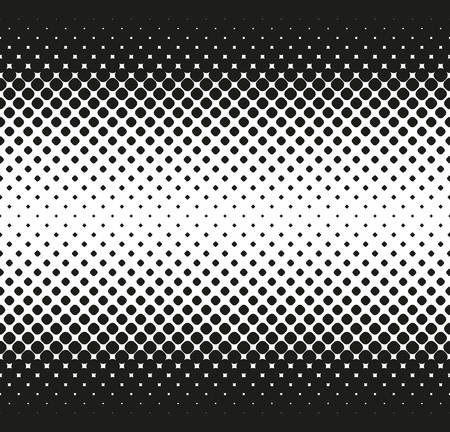 Horizontal seamless Halftone of big rounded squares decreases to center, on white background. Contrasty halftone background. Vector illustration Ilustrace