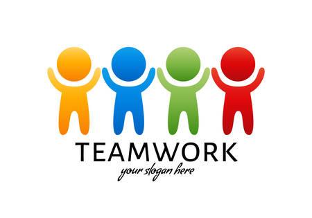 Teamwork colorful logo. Bright design element. Vector illustration