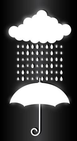 White cloud, raindrops and umbrella isolated on dark background. Glowing light effects. Stylish flickering illustration Иллюстрация