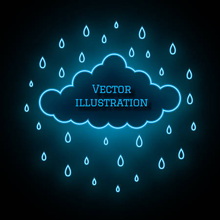 Neon cloud and raindrops on dark background. Stylish glowing illustration. Magic colored vector. Free field for your text. Internet concept for website design, web button, mobile app Vectores