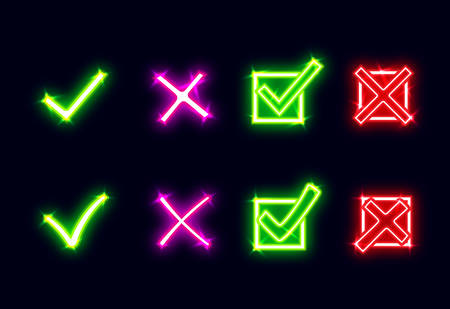 Bright glowing neon mark X and V. Set of green neon hooks and red neon crosses. Yes and No icons for websites or applications.