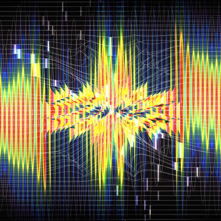 Bright vertical lines of spectral rainbow color on dark background. Neural network, matrix. Glowing lines. Futuristic design. Perturbation of space. Mesh distortion. Explosion lights. Illustration Banco de Imagens
