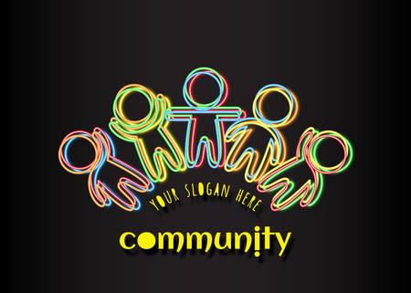 Gemeenschapslogo. Sociaal netwerk media mensen logo. Vakantie van vriendschap Iriserende veelkleurige geschetste silhouetten van mensen op een donkere achtergrond. Groep vriendelijke hulp Gestileerde menselijke figuren Logo