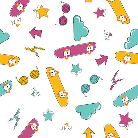 Cute background with skateboards. Vector seamless pattern. Stylish poster, banner. Vector Çizim