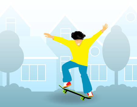 Young guy rides on skateboard on city streets. Flat design. Vector Illustration