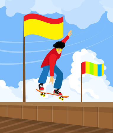Skateboarder doing extreme, dangerous jumping trick. Flat design. Vector