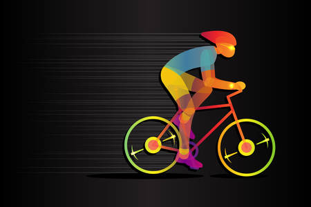 Bright, glowing silhouette of bicyclist. Stylish poster, banner. Vector illustration.