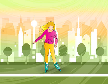 Young girl rides roller skates in park. In the background, silhouette of city in sunshine. Summer vacations, hobbies, pastime. Vector illustration