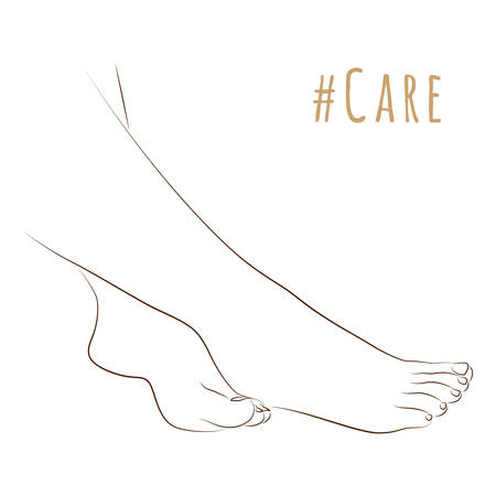 Sketch of elegant female legs, skin care theme, pedicure or procedures. Silhouette feet together for illustration beauty and health. Vector illustration