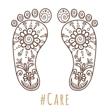 Footprint with floral mehndi ornament. Sketch of legs, skin care theme, pedicure or procedures. Illustration beauty and health. Vector illustration Vettoriali