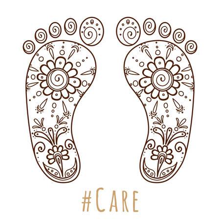 Huella con adorno floral mehndi. Boceto de piernas, tema de cuidado de la piel, pedicura o procedimientos. Ilustración de belleza y salud. Ilustración vectorial Ilustración de vector