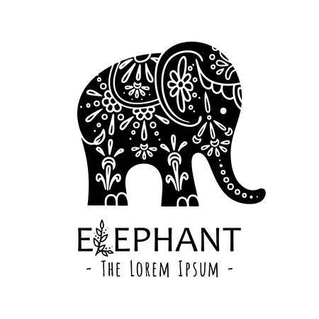 Cute elephant with ornate floral ornament. Vector illustration