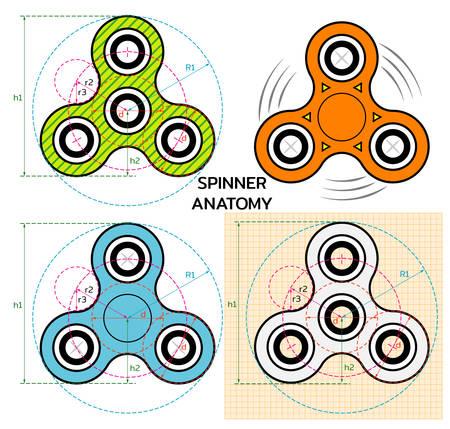 Spinner hand toy. Mechanician drawing of spinner anatomy. Spinner logo, label or emblem. Vector Illustration