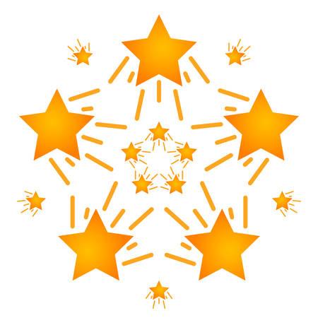 Ensemble d'étoiles mouvement de directions différentes. Étoile filante. Vecteur