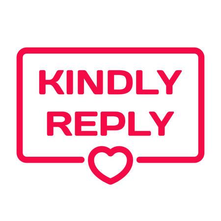 Veuillez répondre insigne avec l'icône de coeur vecteur plat sur fond blanc. Thème de mariage dans la bulle de dialogue. Timbre de citations romantiques pour cartes, invitations, bannières, étiquettes, article de blog Vecteurs