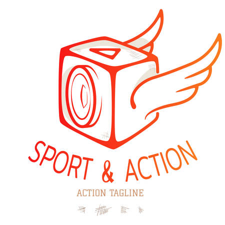 Cube action camera with wings. Colour emblem for logo of video blog or sport action. Vector illustration Illustration