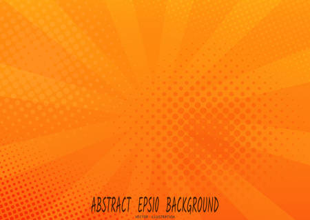Abstract orange background with sun rays, and halftone spots. Vector illustration