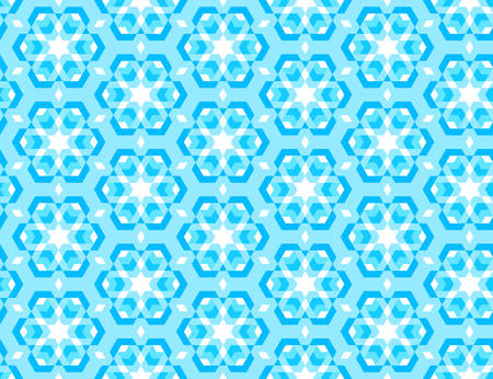 Abstract seamless winter pattern with snowflakes. Bright blue triangles texture. Vector Illustration