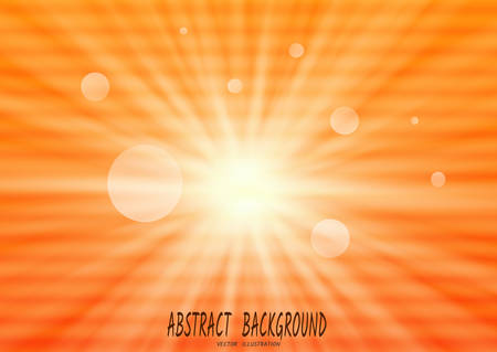 Abstract orange background with sun rays, and horizontal streaks-spots, like interference on old TV. Vector illustration