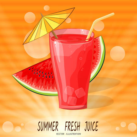 Glass with red juice with umbrella and watermelon in rays, on orange background, and horizontal streaks-spots, like interference on old TV. Summer Fresh Juice. Vector illustration