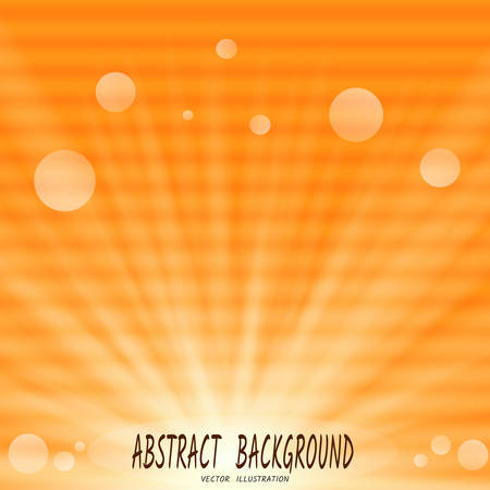 Abstract orange background with sun rays and bokeh, and horizontal streaks-spots, like interference on old TV. Vector illustration