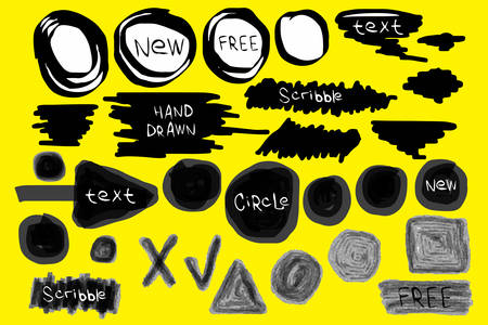 Grunge brush strokes. Text banners, speech bubbles for your message. Set of stains isolated on background. Hand drawn scribble. Dirty artistic design elements Illustration