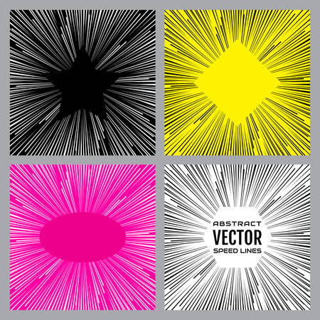 Colorful speed lines background. Effect motion lines for comic book and manga. Radial rays from center of frame with effect explosion. Template for design. Vector illustration