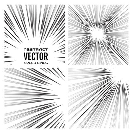 Speed lines background. Effect motion lines for comic book and manga. Radial rays with effect explosion. Template for design. Vector illustration