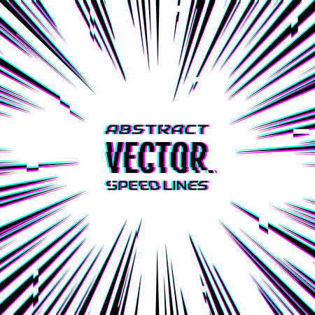 Speed lines with glitch effect on white background. Effect motion lines for comic book and manga. Radial rays from center of frame with effect explosion. Template for design. Vector illustration