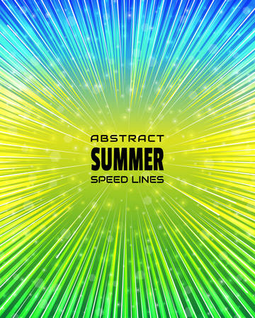 Summer background colorful speed lines. Effect motion lines for comic book and manga. Radial rays from center of frame with effect explosion. Template for design. Vector illustration