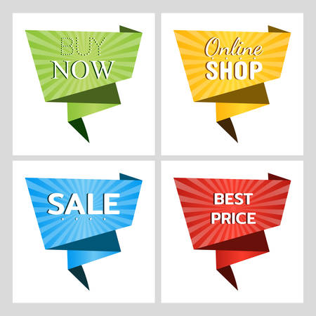 Set of web banners for sales and promotions. Buy now. Online shop. Sale. Best price. Paper origami speech bubble isolated on white for design of advertisement label, sticker. Vector illustration