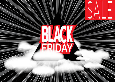 Inscription Black Friday on background of black and white speed lines and clouds. Stylish Sale banner. Template for use on flyer, poster, booklet. Vector illustration Çizim