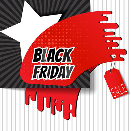 Black Friday brush imprint for angle of page or attaching on your goods. Stylish Sale theme. Template for use on flyer, poster, booklet, banner. Vector illustration