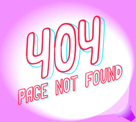 Layout 404 page not found. Simple sketch on pink background. Vector illustration