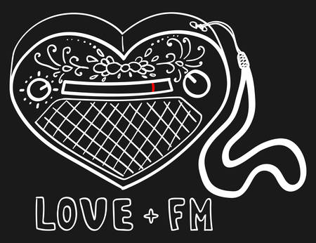 Sketch of cute radio in form of heart. Picture for teenager t-shirt or fabric. Vector illustration Çizim