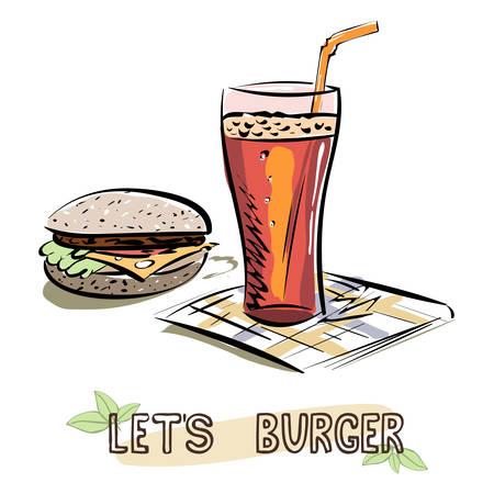 Let's Burger sketch. Burger and glass of lemonade on napkin. Vector illustration