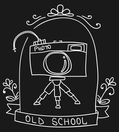 Cute vignette with old camera in sketch. Old school. Vector illustration