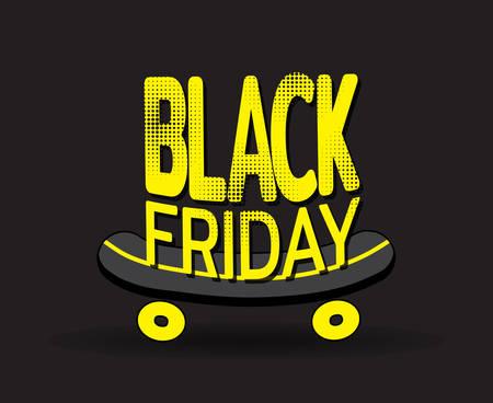 Black friday on skateboard. Banner for sale of sporting goods. Template for use on flyer, poster, booklet. Vector illustration
