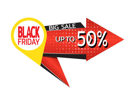 Black friday banner. Red arrow points to discounts big sale. Template for use on flyer, poster, booklet. Vector illustration