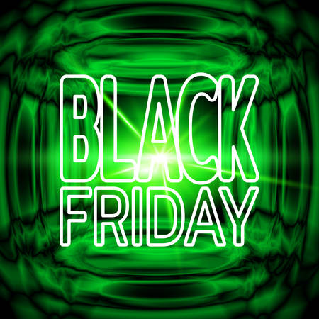 Black friday sale banner. Bright green neon background with effect of an explosion. Template for use on flyer, poster, booklet. Vector illustration Çizim