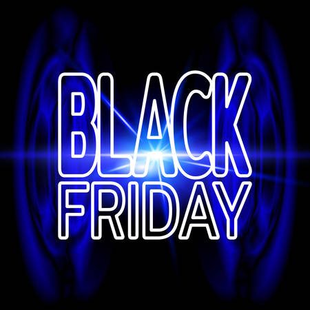 Black friday sale banner. Bright blue neon background with effect of an explosion. Template for use on flyer, poster, booklet. Vector illustration