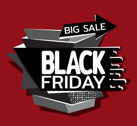 Arrow points to discounts big sale on black friday. Template for use on flyer, poster, booklet. Flat design. Vector illustration