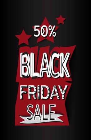 Black friday sale banner. Template for use on flyer, poster, booklet. Vector illustration Иллюстрация