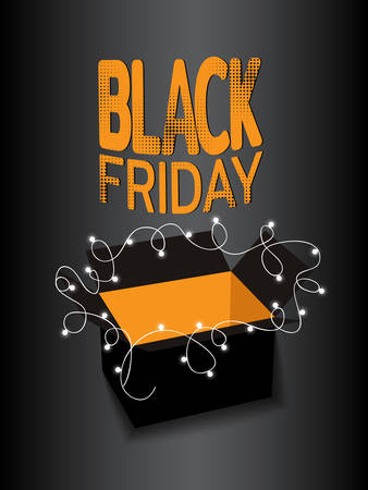 Black friday sale banner. Black box with luminous garland on dark background. Template for use on flyer, poster, booklet. Vector illustration