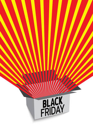 Black friday sale banner. Red radial rays fly out of box. Banner for sale with space for text. Template for use on flyer, poster, booklet. Vector illustration Иллюстрация